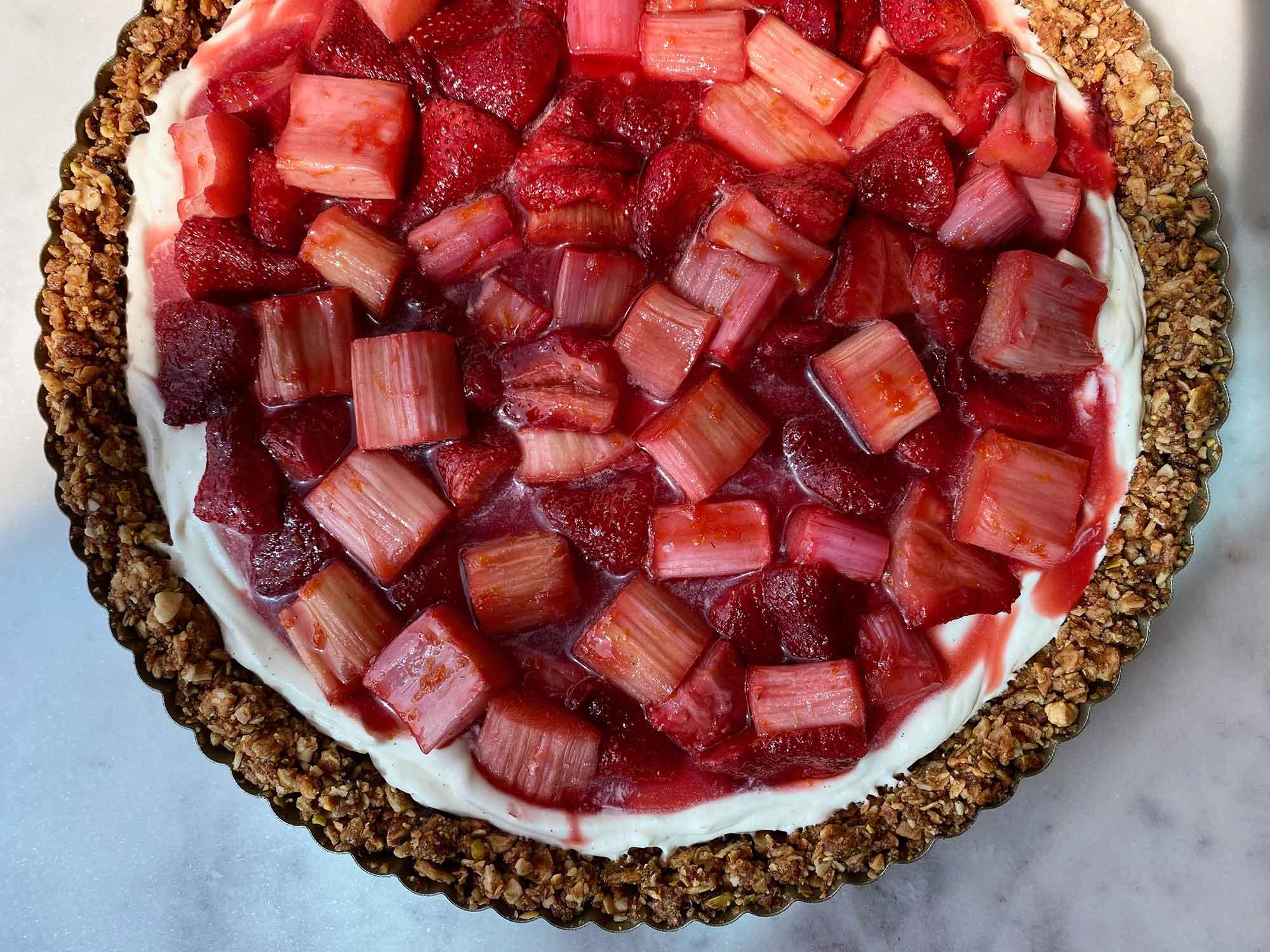Roasted Strawberry-Rhubarb Tart with Mascarpone Cream