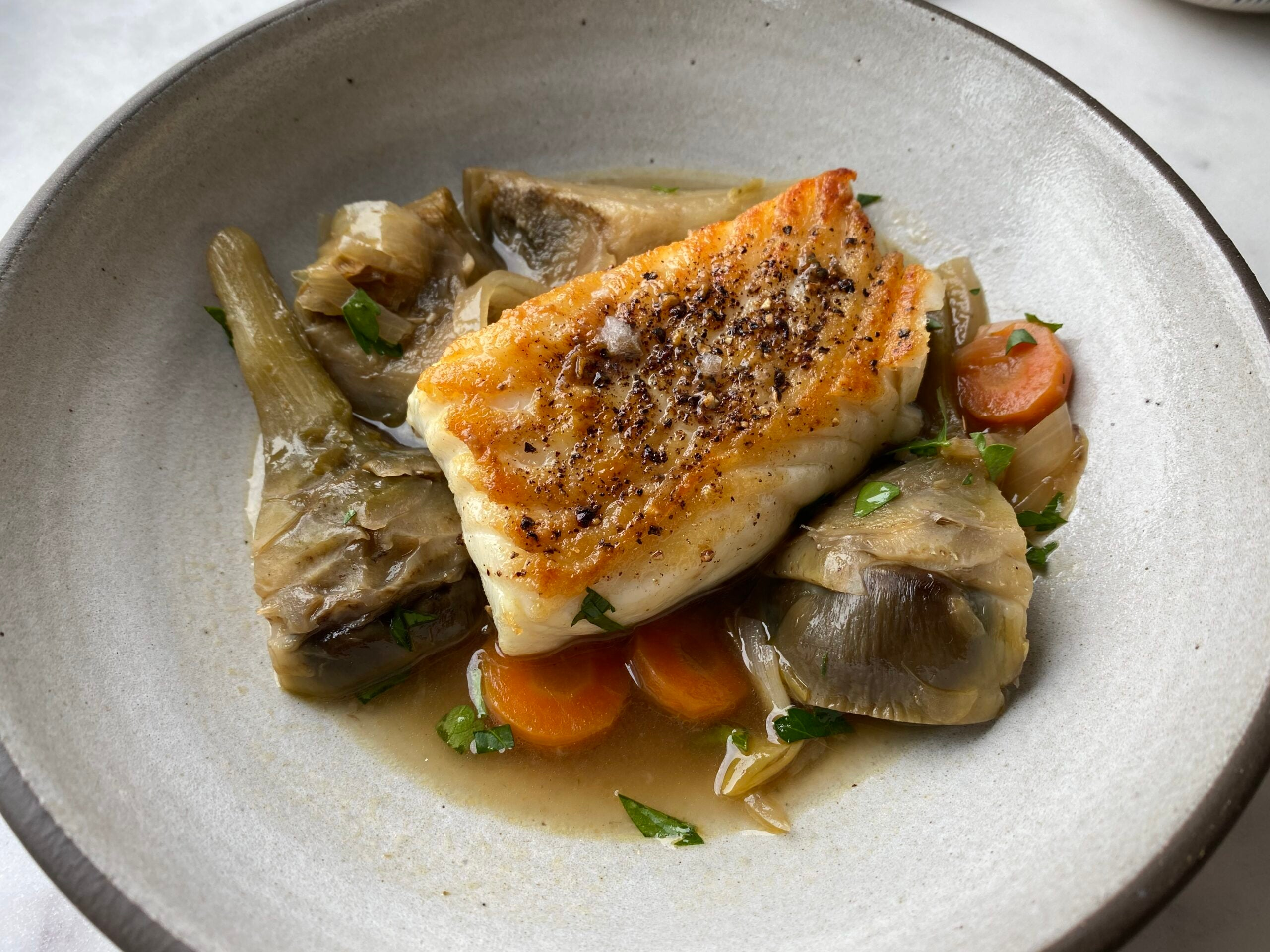 Halibut with Wine-Braised Artichokes and Carrots