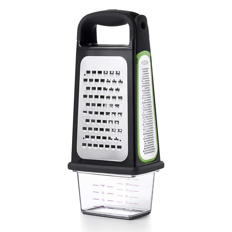 The Best Cheese Grater Option OXO Etched Box Grater with Removable Zester