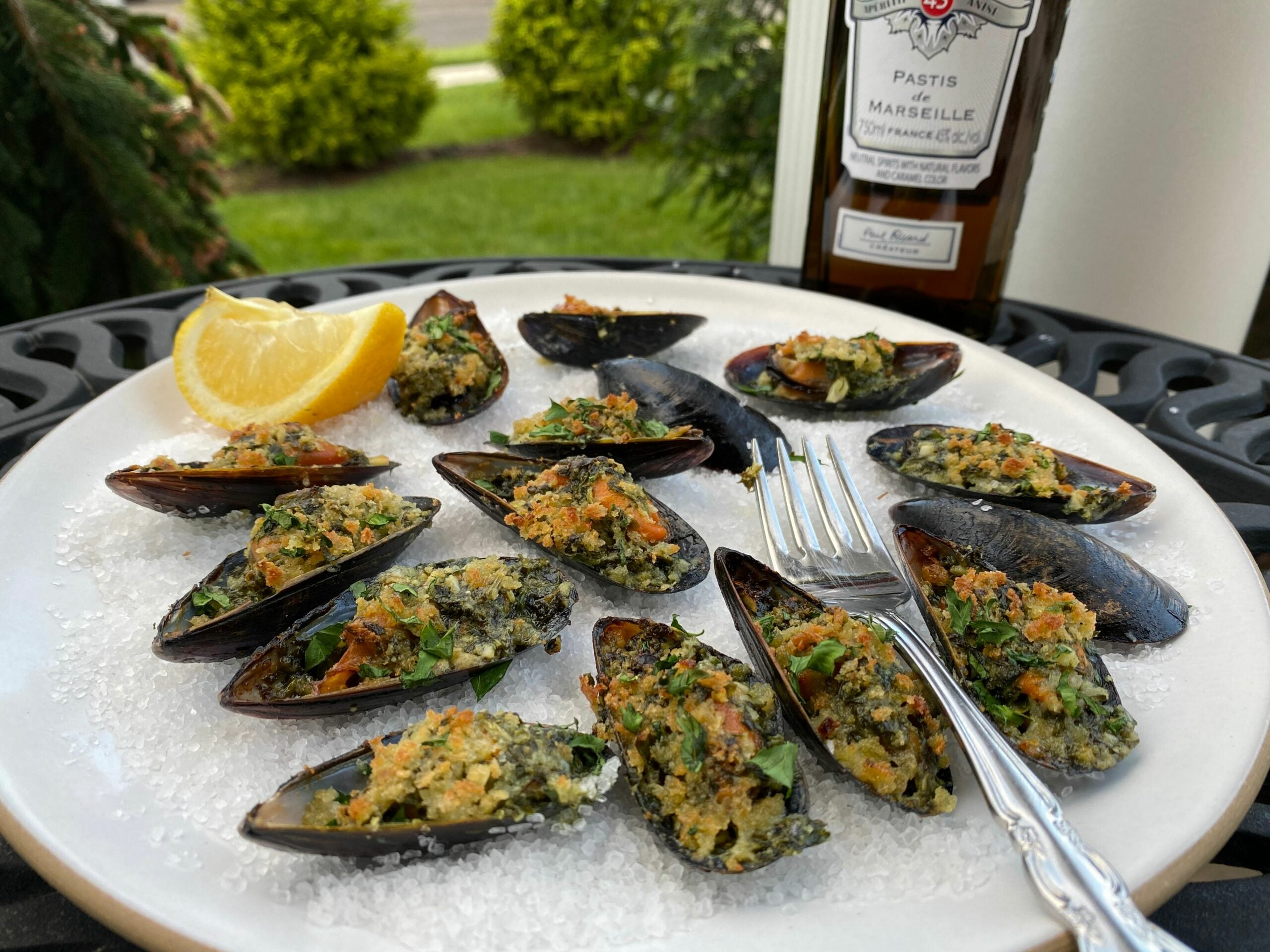 Mussels Rockefeller with Pastis Butter