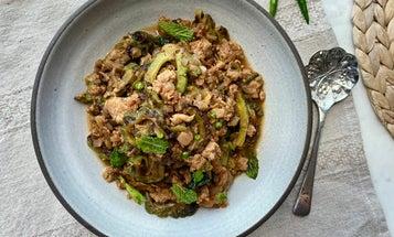 Karela Ma Kheemo (Parsi-Style Bitter Gourd with Ground Chicken)