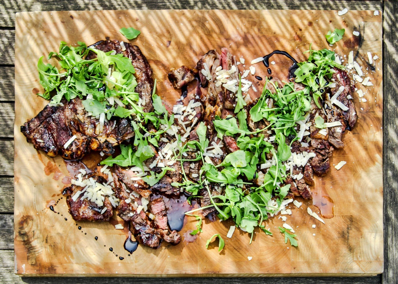 Italian Steak Grilled Ribeye with Balsamic Vinegar, Parmesan, and Arugula