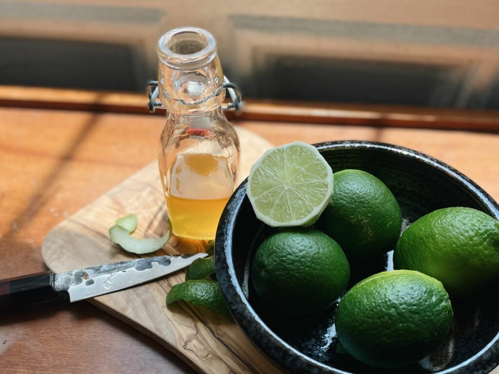 Lime Cordial Céline Bossart with Limes in Bowl