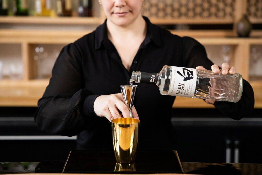 Julia Momose Pouring Suntory Haku Vodka