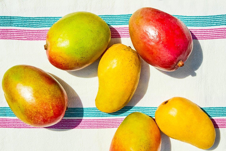 Mango Varieties on White Cloth
