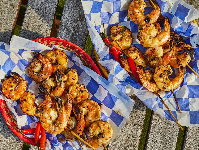 Shrimp Satay Recipe on Red Baskets