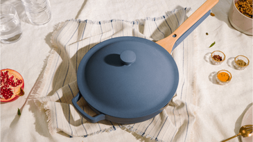 Our Place blue frying pan with lid