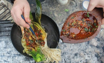 Grilled Leeks with Red Chile Sauce