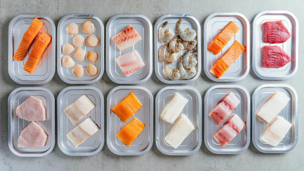 Fresh fish in metal boxes