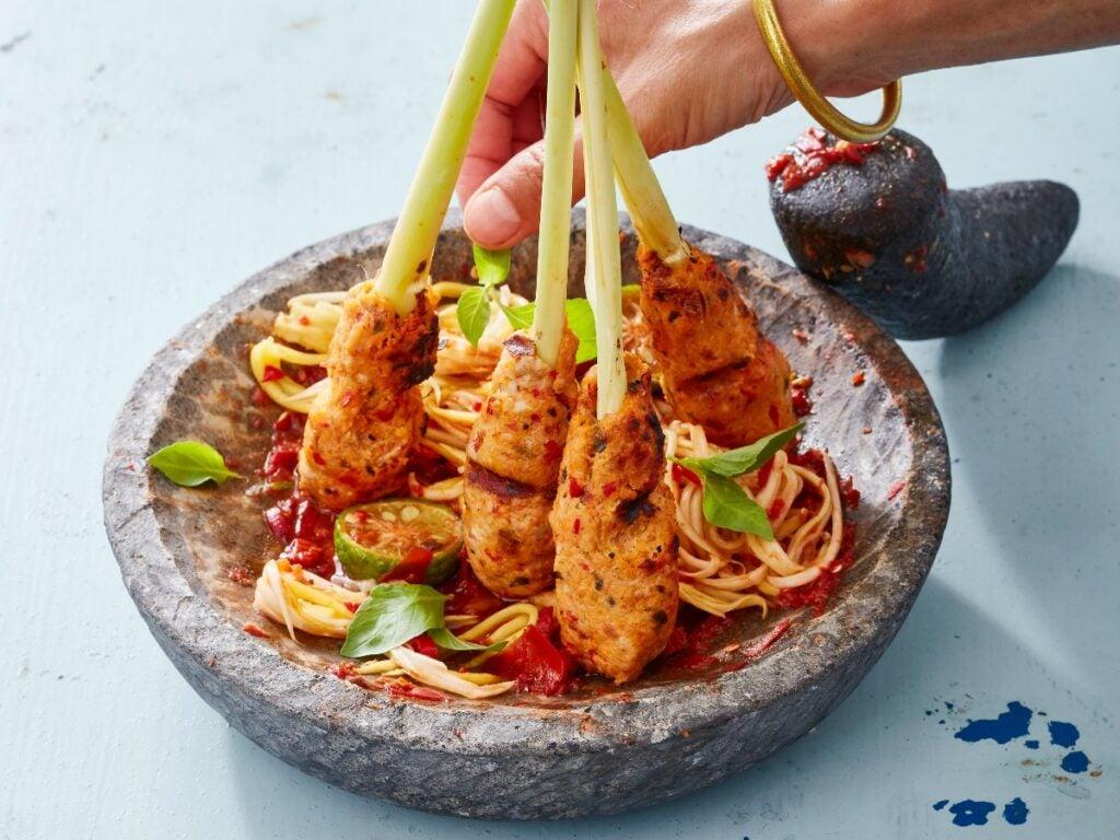Fish Satay Sate Lilit Mackerel Skewers