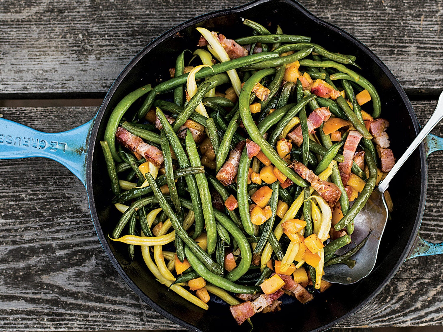 Green Beans with Peaches and Bacon