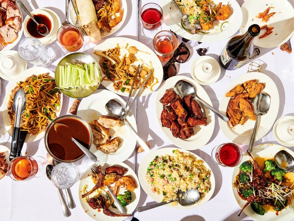 Wine Migos Champagne Chinese Food Spread
