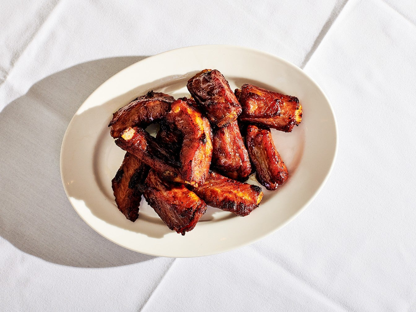 Spare Ribs on White Plate