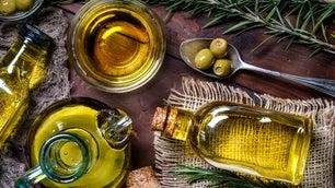 olives and olive oil bottles