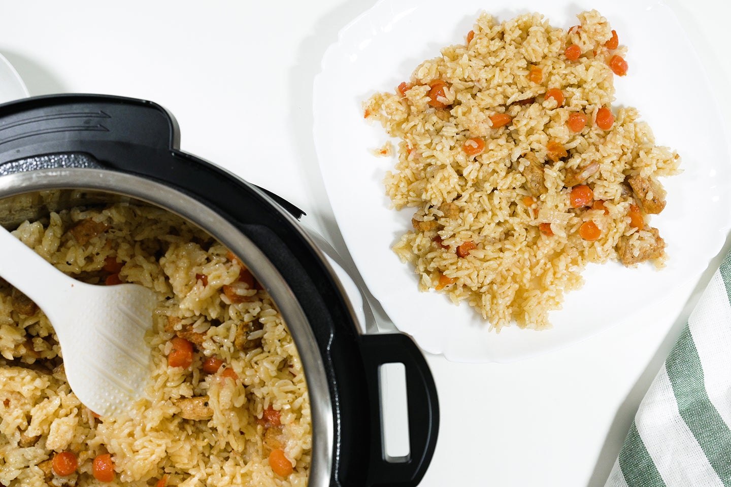 Rice with meat and vegetables prepared in multi cooker