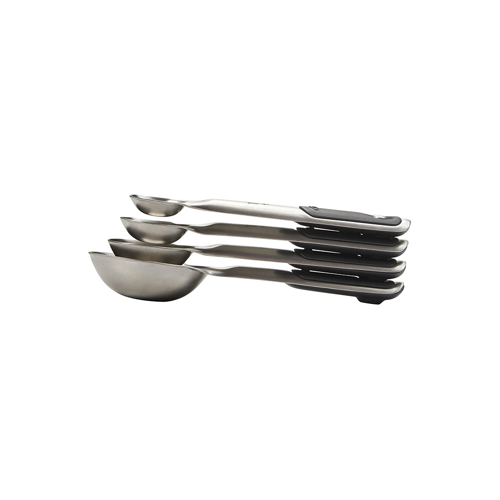 Stainless Steel Measuring Spoons With Grip Stacked