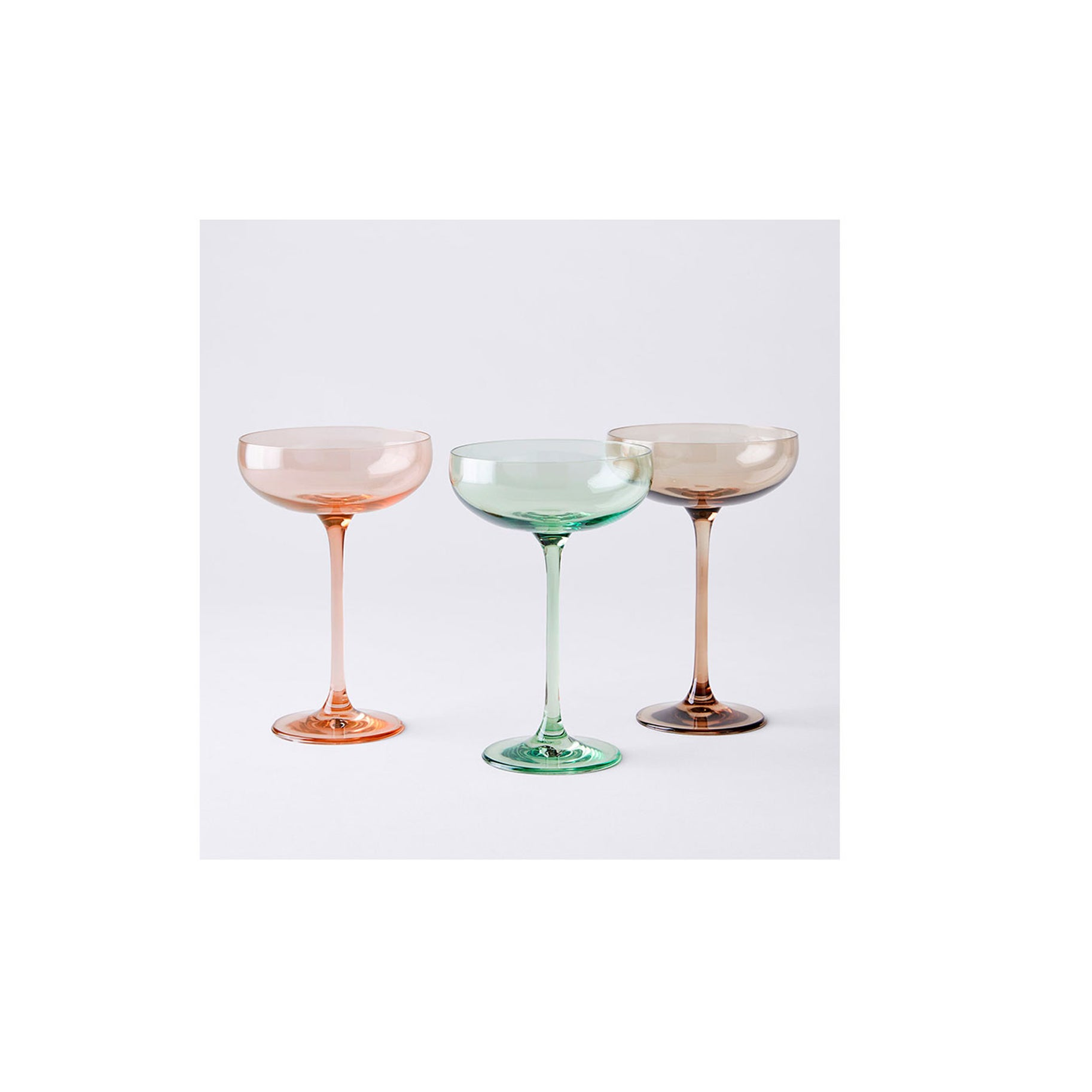 The Best Martini Glass Option: Estelle Colored Glass Handblown Cocktail Coupes