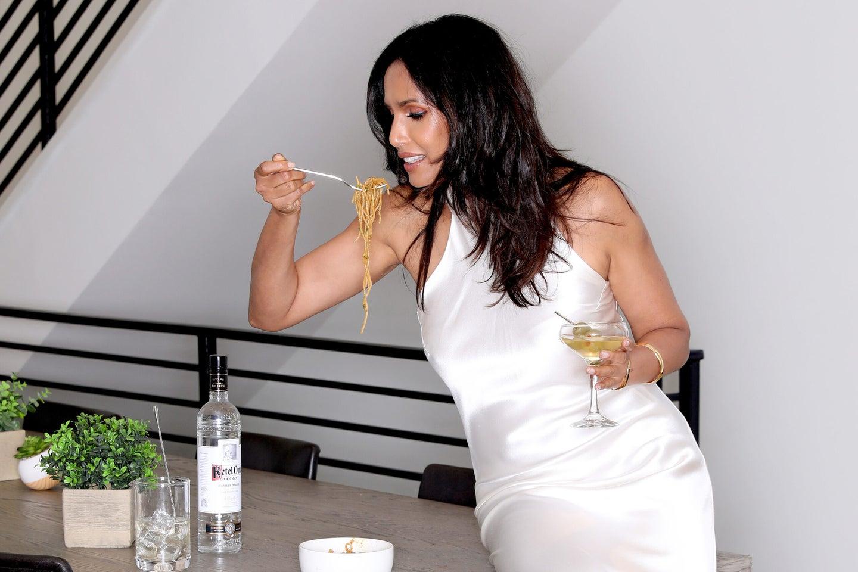 Padma Lakshmi drinks martini