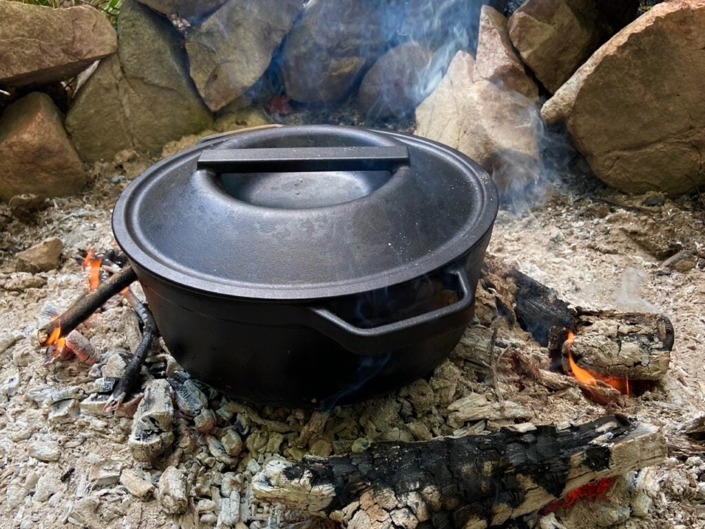Dutch oven over the fire