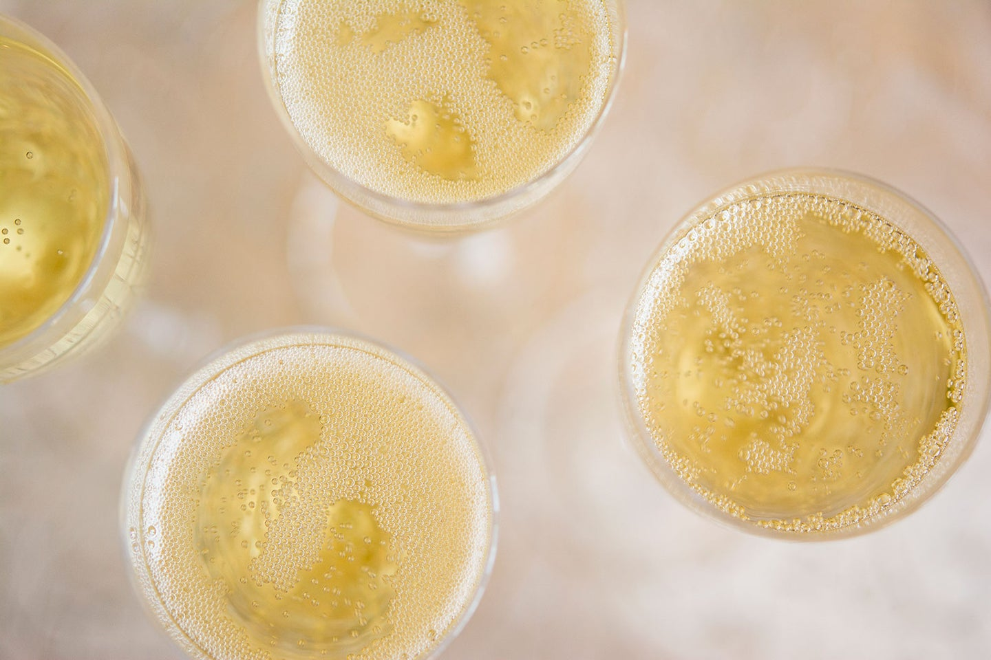 champagne glasses from above