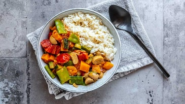 Bowl of Steamed Vegetables and Rice