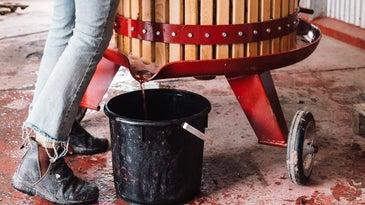 Pet Nat memoir wine press at work